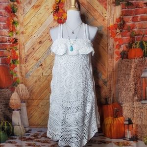 MONORENO SIZE L WHITE CROCHET FALL BOHEMIAN DRESS
